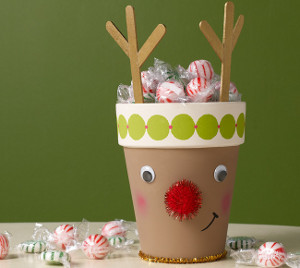 Glowing Rudolph Clay Pot