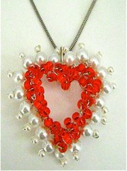 Divine DIY Jewelry: Red Heart Pearl Lined Wire Pendant