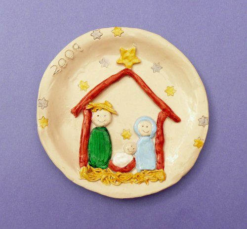Christmas Clay Nativity Plate