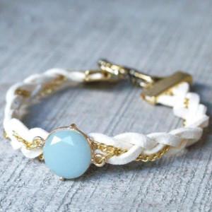 Milky Aqua Leather Bracelet