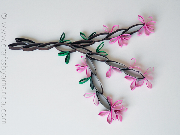 cardboard-tube-wall-art-cherry-blossom