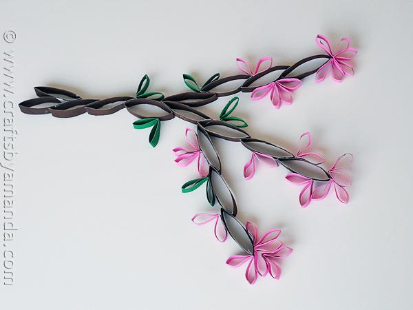 cardboard-tube-wall-art-cherry-blossom