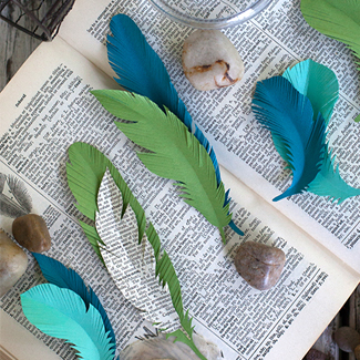Recycled Paper Feathers