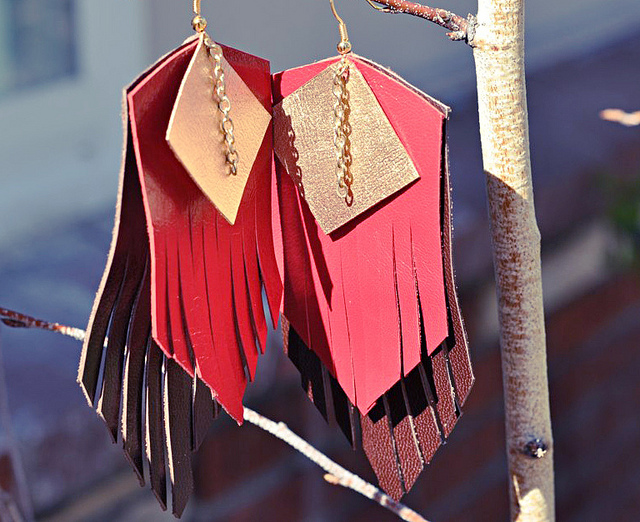 Multi Colored Leather Fringe Earrings