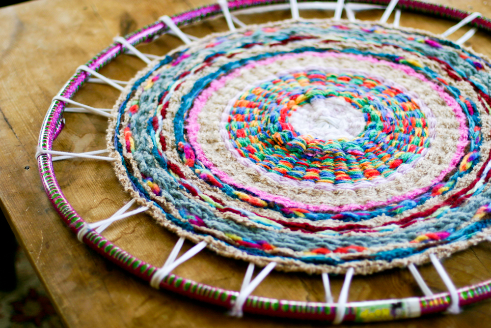 Finger Knitting Hula Hoop Rug