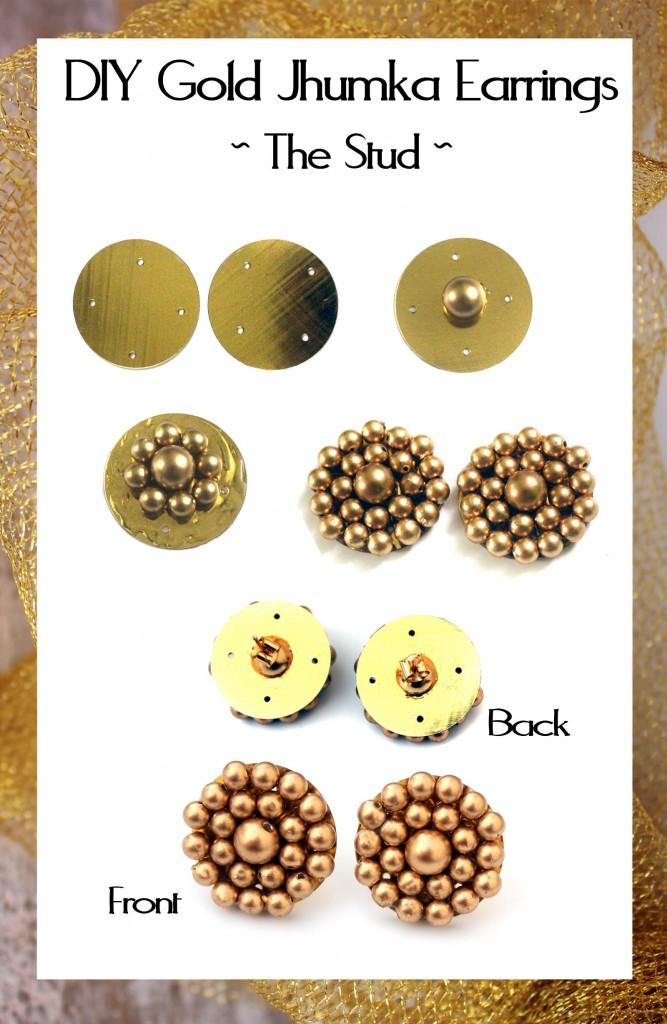 DIY Gold Jhumka Earrings 4