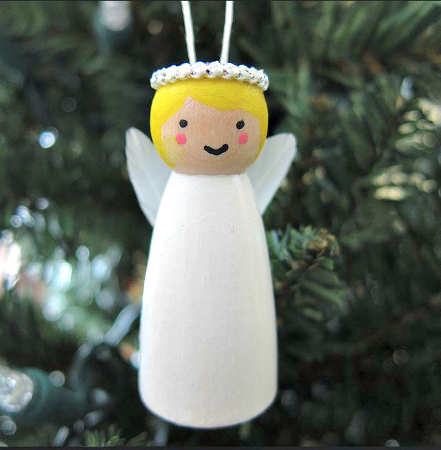 Little Wooden Angel Ornament