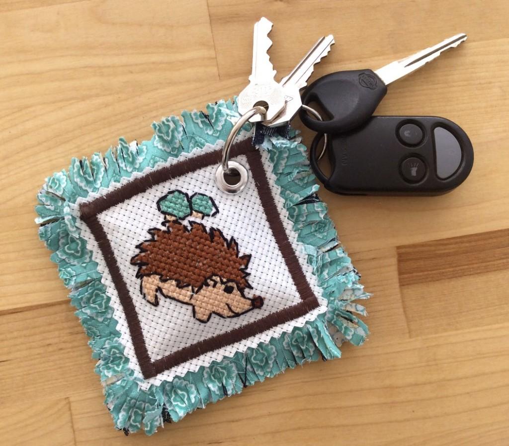 Best Blogger Crafts 2015 Hedgehog Cross Stitch Pattern Keychain